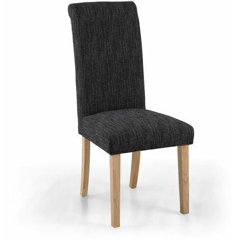 Polo Linen Effect Dark Grey Chair In Legs