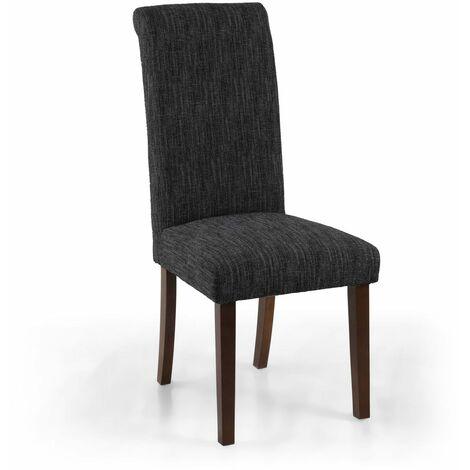 Polo Linen Effect Dark Grey Chair In Walnut Legs