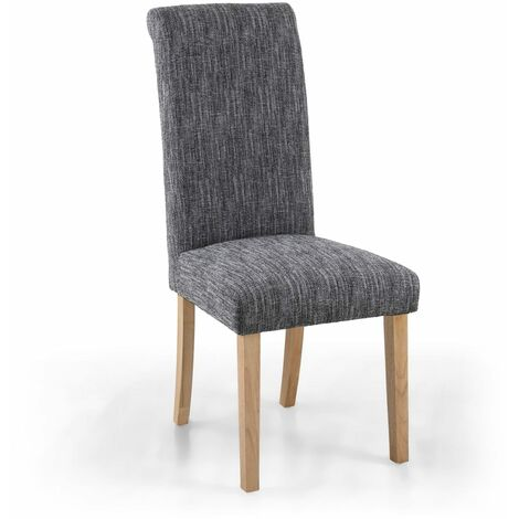 Polo Linen Effect Grey Chair In Legs