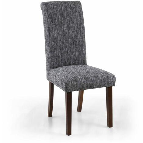 Polo Linen Effect Grey Chair In Walnut Legs