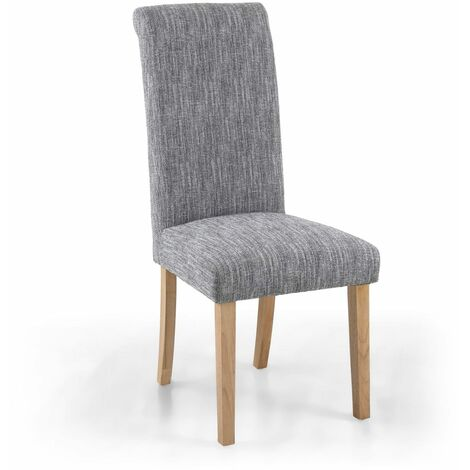 Polo Linen Effect Light Grey Chair In Legs