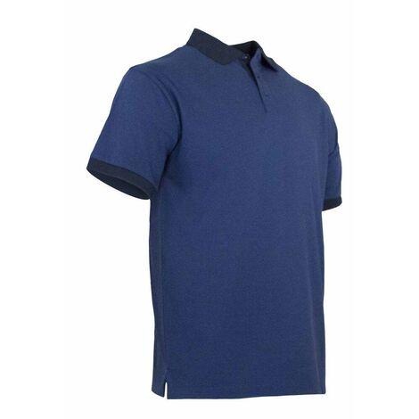 Polo maille piquée chinée bicolore - CARRELAGE - Bleu / Noir
