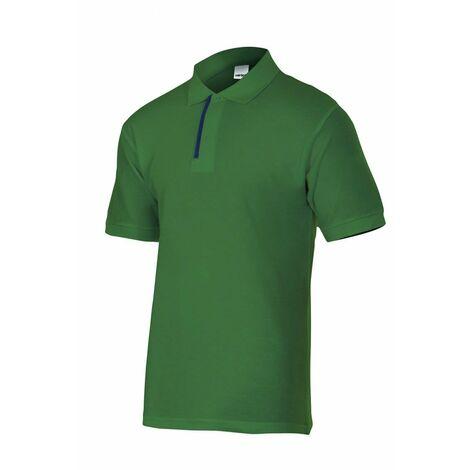 Polo negro/verde de manga corta bicolor Serie P105502