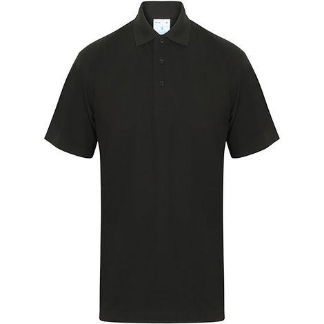 Polo Noir pour Unisexe Coton, polyester taille XXL Basic manches courtes