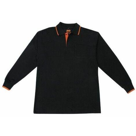 Polo Trabajo Xxl 100%Algodon Marga Larga Negro/Naranja