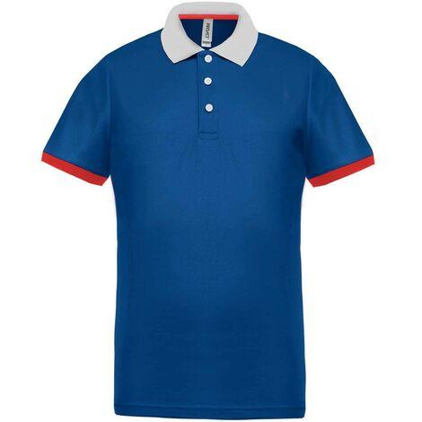 Polo tricolore homme Proact Performance Bleu