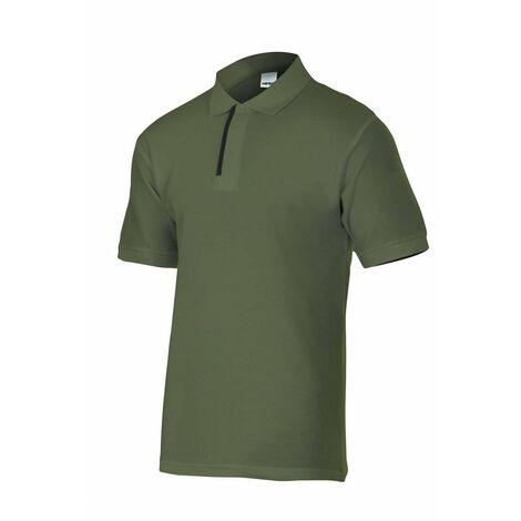 Polo verde caza/bosque de manga corta bicolor Serie P105502