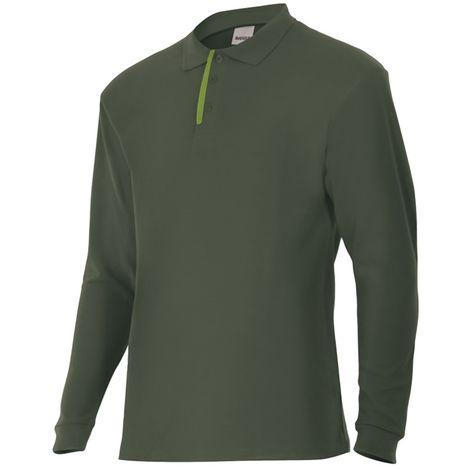 Polo verde caza/bosque de manga larga bicolor Serie P105503