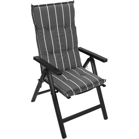 6er Set Hochlehner Sitzpolsterauflage 120x50cm Garten Stuhlauflage Gestreift
