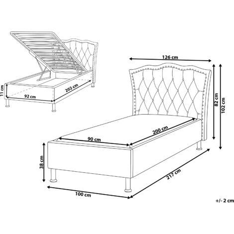 Polsterbett 90 x 200 cm Grau Leinenoptik Stoffbett Mit Bettkasten Hochklappbar Elegant Romantisch