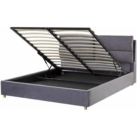 Polsterbett aus Samtstoff Grau 140 x 200 cm mit Bettkasten hochklappbar Doppelbett Elegantes Modernes Design