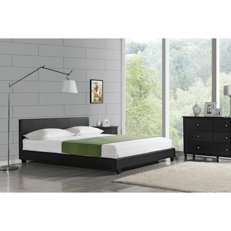 Polsterbett Barcelona 140x200cm Kunst Leder Kunstlederbezug Doppelbett Bett mit Stecklattenrost Schwarz - CORIUM