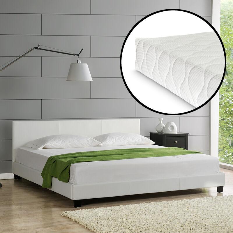 Design Polsterbett + Matratze 180 x 200 cm Kunst-Leder Weiß Doppel Bett CORIUM