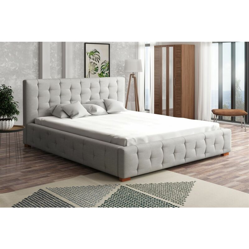 Polsterbett Bett Doppelbett COMO Stoff 120x200cm - FUN MOEBEL