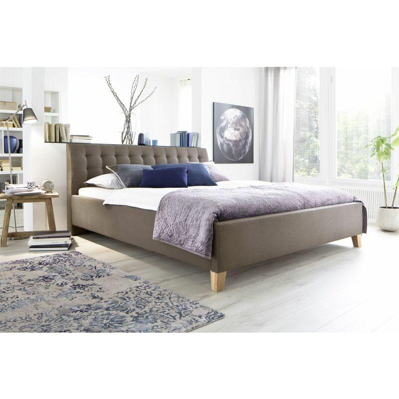 Polsterbett Bett Doppelbett -DENNIS -180x200 cm Stoffbezug Braun/Beige - FUN MOEBEL