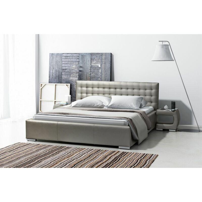 Polsterbett Bett Doppelbett DORO Kunstleder Grau 140x200cm - FUN-MÖBEL