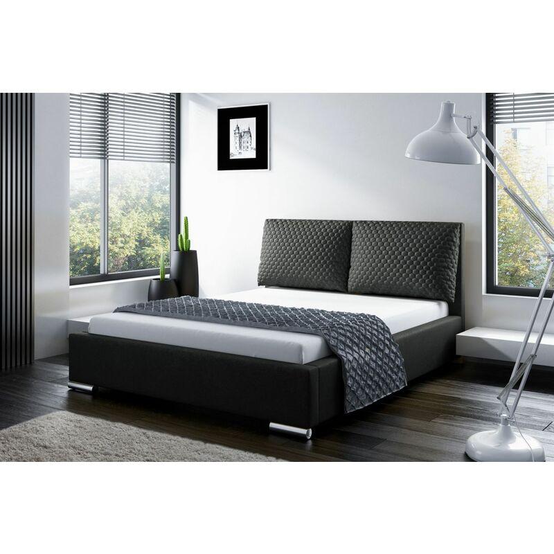Polsterbett Bett Doppelbett GALENO 160x200 cm in Stoff Schwarz - FUN MOEBEL