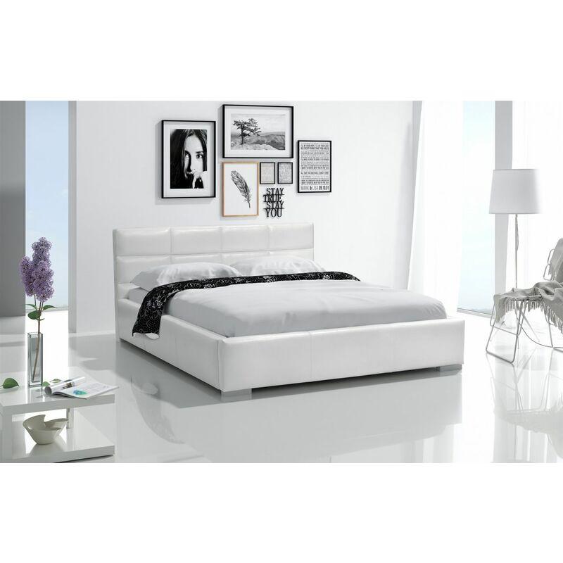 Polsterbett Bett Doppelbett KIAN Kunstleder Weiss 140x200cm - FUN-MÖBEL
