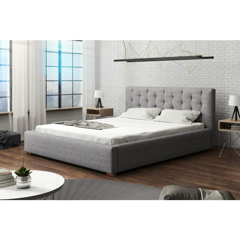 Polsterbett Bett Doppelbett LUCCA (Set 2) Stoff 140x200cm - FUN MOEBEL