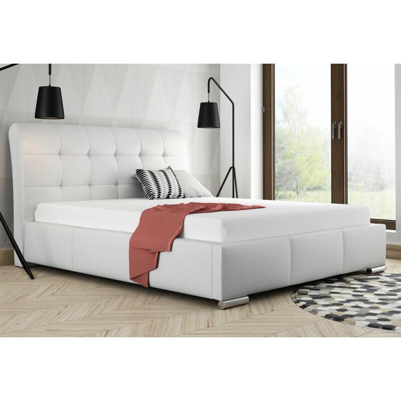 Polsterbett Bett Doppelbett MATTIS Kunstleder Weiss 140x200cm - FUN-MÖBEL