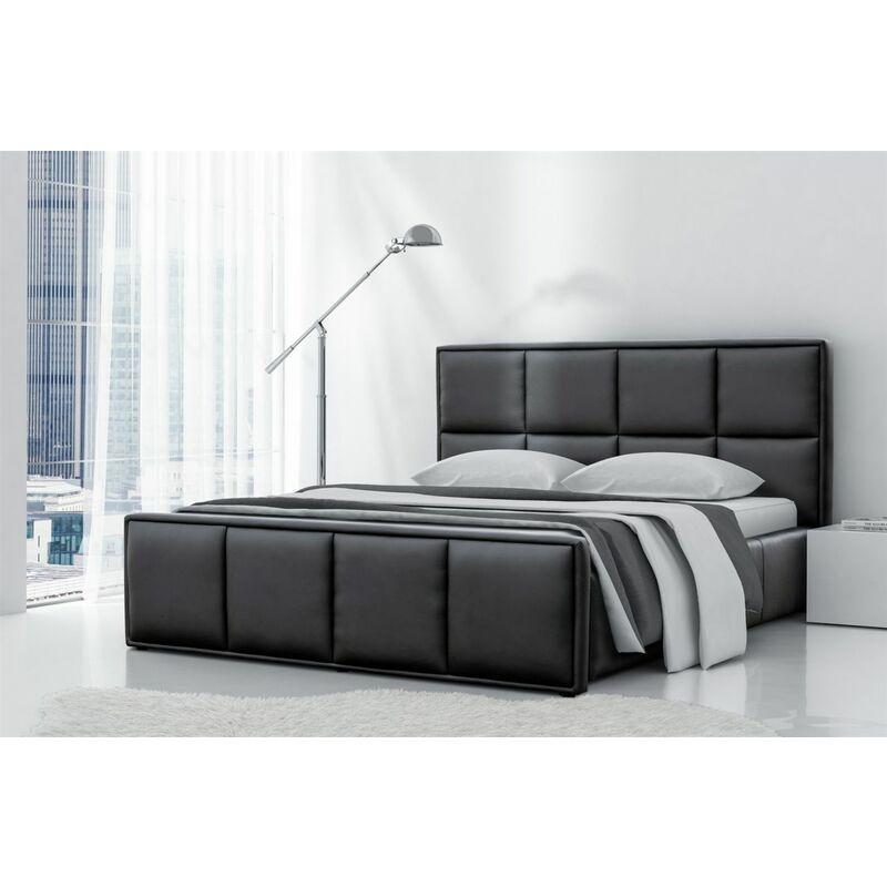 Polsterbett Bett Doppelbett PEPE Kunstleder Schwarz 140x200cm - FUN-MÖBEL