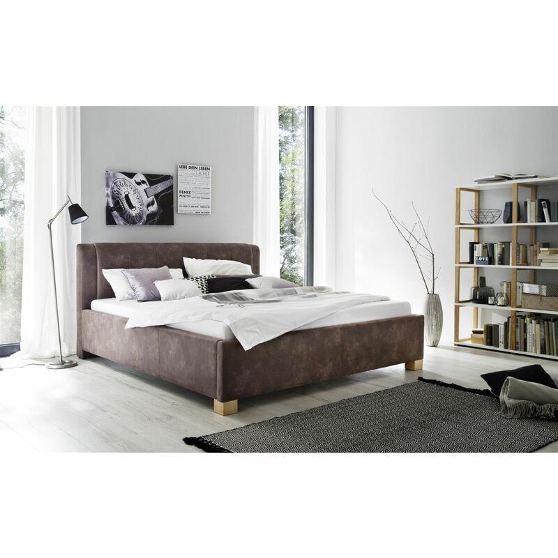 Polsterbett Bett Doppelbett - ROM -140x200 cm Stoffbezug Vintage Braun - FUN MOEBEL