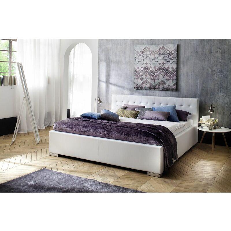 Polsterbett Bett Doppelbett Tagesbett - BONI - 140x200 cm Weiss - FUN MOEBEL