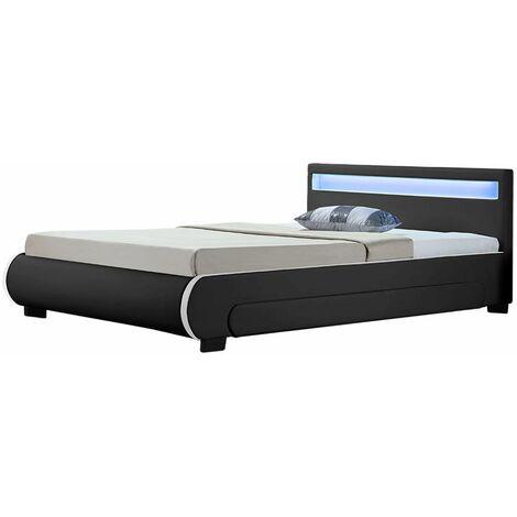 Polsterbett Bilbao 140 x 200 cm – Bettgestell mit Bettkästen, LED Beleuchtung & Lattenrost – Kunstleder Bett – schwarz – Jugendbett   ArtLife