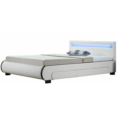 Polsterbett Bilbao 180 x 200 cm – Bettgestell mit Bettkästen, LED Beleuchtung & Lattenrost – Kunstleder Bett – weiß – Doppelbett   Artlife