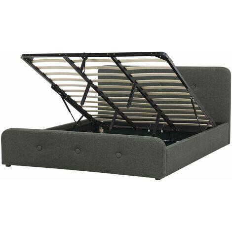 Polsterbett Dunkelgrau 180 x 200 cm Doppelbett Hochklappbar Bettkasten Knopfverzierung Elegant Modern