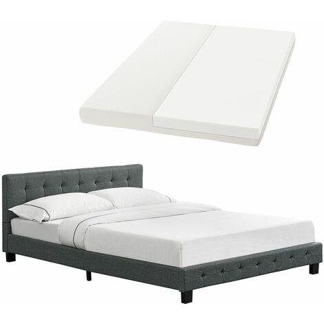Polsterbett Manresa 140 x 200 cm - Bett Komplett-Set mit Matratze, Lattenrost und Kopfteil - Zeitloses modernes Design, Grau | Artlife
