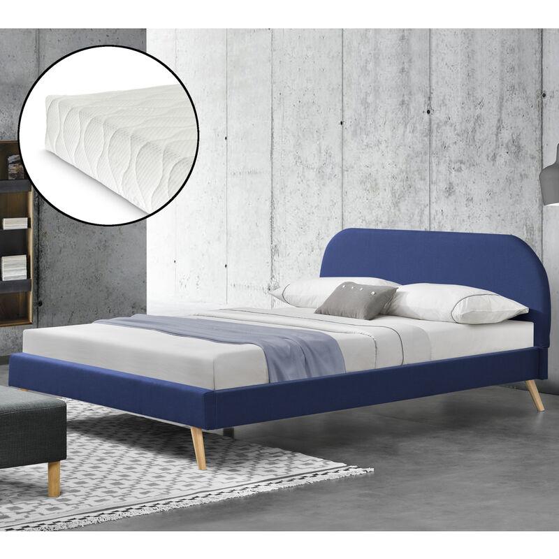Polsterbett mit Matratze 140x200 cm Leinen mit Kaltschaummatratze Doppelbett Jugendbett mit Lattenrost Stoffbett Blau - CORIUM