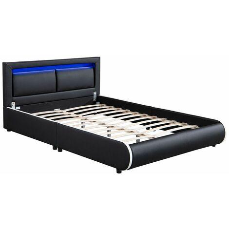 Polsterbett Murcia 140 x 200 cm – Bett mit LED, Lattenrost, Kopfteil & Kunstleder – Bettgestell gepolstert, gemütlich & modern - schwarz   ArtLife