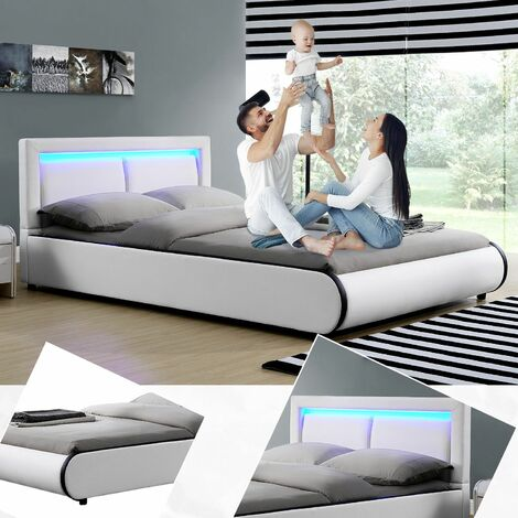 Polsterbett Murcia 140 x 200 cm – Bett mit LED, Lattenrost, Kopfteil & Kunstleder – Bettgestell gepolstert, gemütlich & modern - weiß | ArtLife