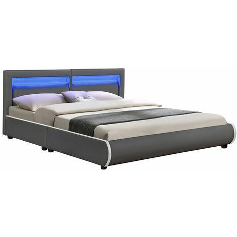 Polsterbett Murcia 180 x 200 cm – Bett mit LED, Lattenrost, Kopfteil & Kunstleder – Bettgestell gepolstert, gemütlich & modern - grau   ArtLife