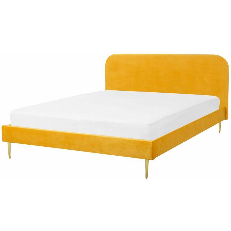 Beliani - Bett Gelb Samtstoff/Metall 140 x 200 cm Retro Polsterbett Doppelbett Schlafzimmer