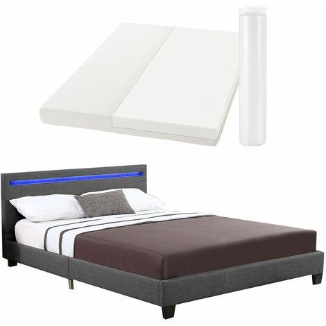 Polsterbett Verona | 120×200 cm | Bettgestell inkl. LED-Beleuchtung, Lattenrost & Matratze | grau | Stoff | Einzelbett Jugendbett | ArtLife