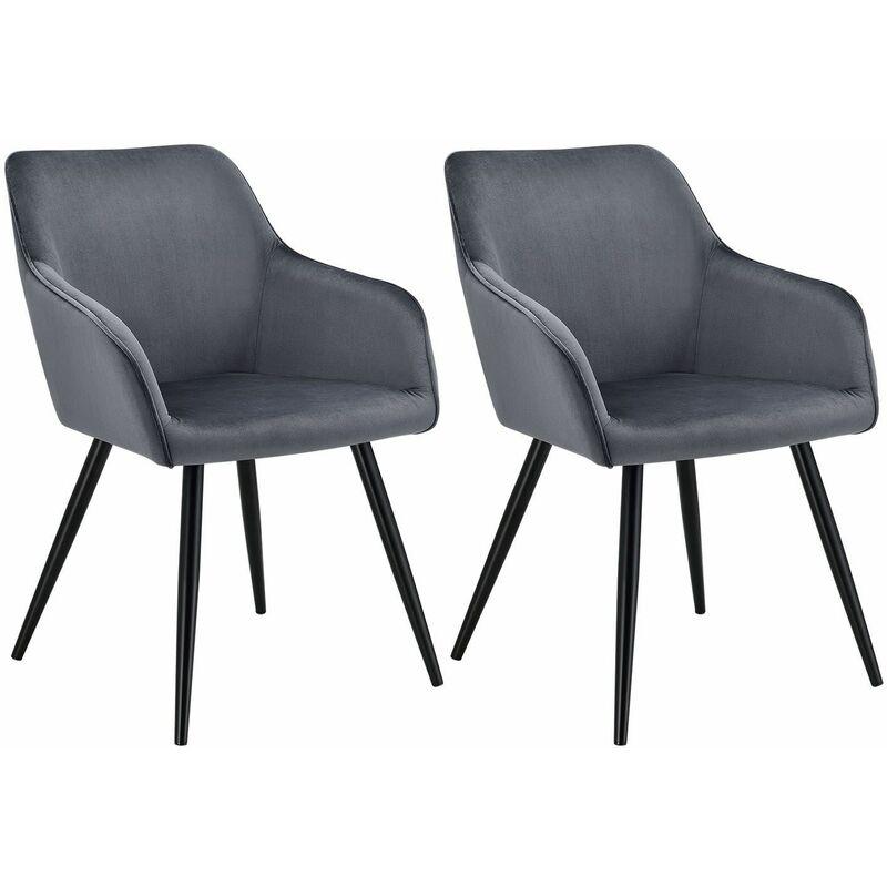 Polsterstuhl Tarje 2er Set - Samt und bequeme Sitzfläche – Esszimmerstühle mit Metallbeinen kratzfest – Loungesessel mit Armlehnen - anthrazit  