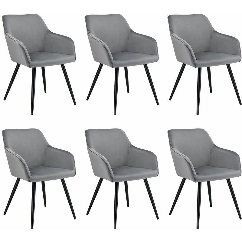 Polsterstuhl Tarje 6er Set - Samt und bequeme Sitzfläche – Esszimmerstühle mit Metallbeinen kratzfest – Loungesessel mit Armlehnen - grau   Artlife