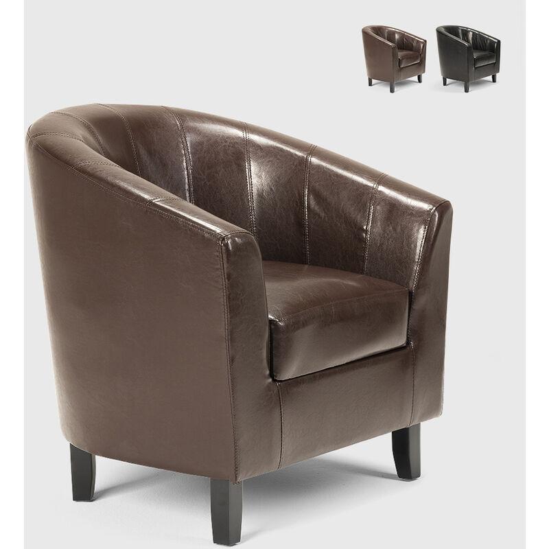 Poltrona a pozzetto in similpelle salotto ufficio sala attesa design classico Seashell | Colore: Marrone - AHD AMAZING HOME DESIGN