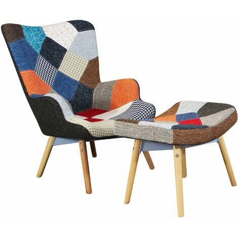 Poltrona con poggiapiedi moderna patchwork 83701317 for Poltrona ufficio con poggiapiedi