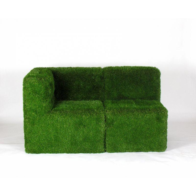 Verdevip - Poltrona Corner & Sedia cm . 151x77 H.90 rivestito con erba sintetica