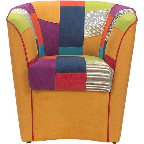 Poltrona da camera soggiorno reclinabile imbottita in tessuto patchwork antimacchia