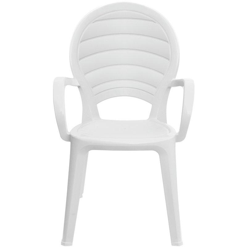Gbshop - Poltrona Paloma da giardino impilabile con braccioli bianca