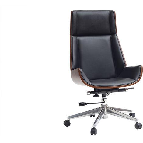 Sedia Da Ufficio Vintage.Poltrona Da Ufficio Design Legno Scuro E Nero Curved 44765