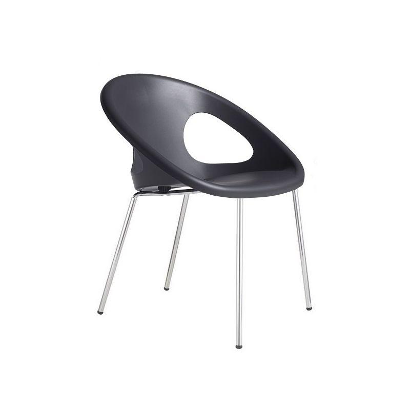 Gbshop - POLTRONA DROP confezione da 2 pezzi - antracite gambe acciaio - Antracite/ gambe acciaio cromato