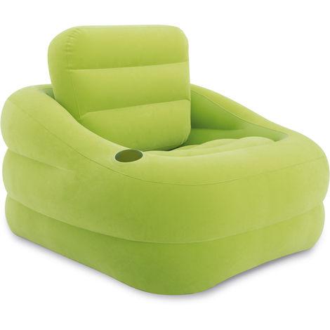 Poltrone Gonfiabili Da Giardino.Intex Poltrona Pouf Gonfiabile Verde Con Portabicchiere 68586np