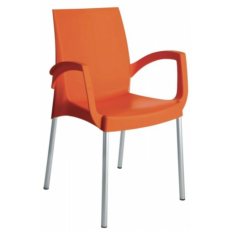 Poltrona Impilabile arancio Con Gambe In Alluminio - GBSHOP