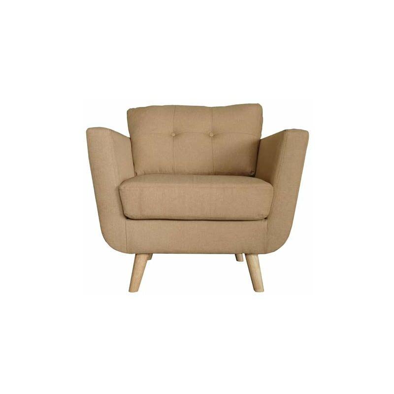 Pidema - Poltrona in tessuto beige con gambe in legno, poltrone sofa 87x86xh84 cm ideale in soggiorno o camera da letto.