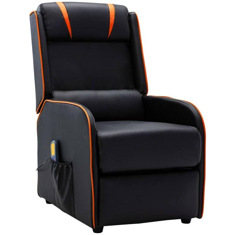 Poltrona Massaggio Reclinabile Nera e Arancione in Similpelle - Negro - Vidaxl